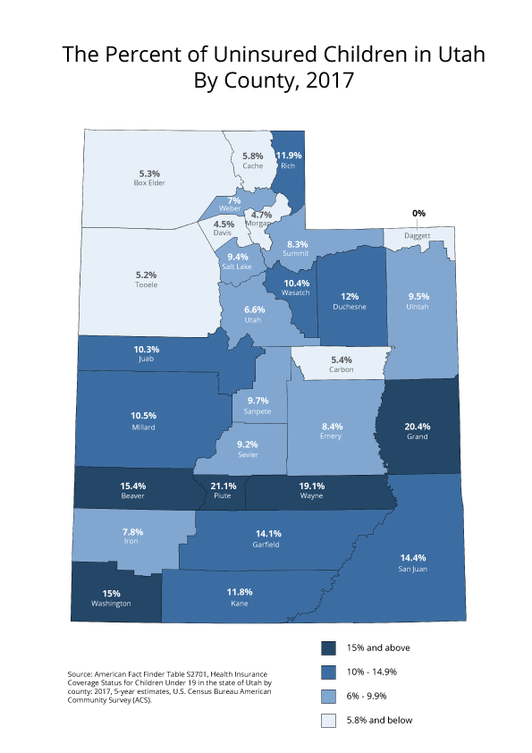 Utah uninsured by county